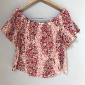 Madewell Silk Top Off the Shoulder Floral Pink Med